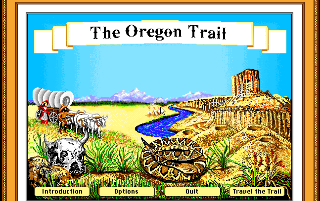 You know when a snake features this prominently in the Menu, you're probably in for a wild ride. - A screenshot from the computer game Oregon Trail.
