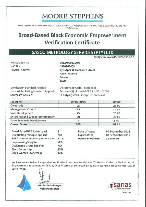 Sasco BBBEE Certificate