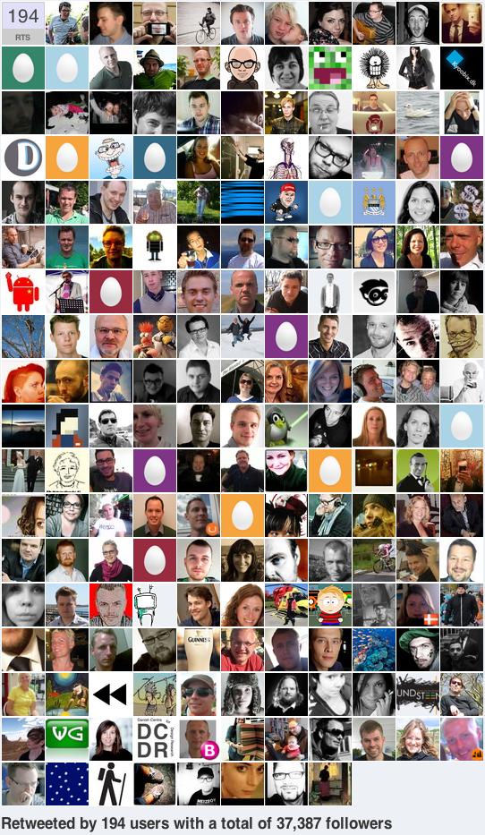 """Historien om det rejsende tweet  I morges ville jeg, som en del af et oplæg om sociale medier, demonstrere over for mine   kollegaer   hvor hurtigt og langt (hej, Australien!) et tweet kunne rejse på en time.   Præcis kl. 8:30 tweetedejeg """"Er I søde at hjælpe mig med at livedemonstrere hvor hurtigt og langt et tweet kan rejse på en time? Pls RT! #rejsende_tweet #twitterdemo""""   Jeg skrev det med vilje på dansk for at undersøge den danske twittersfære - men det blev undervejs oversat af andre til engelsk, svensk og norsk. Jeg noterede antal followers for hver af de tweeps der havde RT'et og talte således  potentielle  læsninger.Jeg havde ikkepå forhåndtalt med så meget som en eneste tweep om eksperimentet. Når jeg skriver læsninger er det fordi der naturligvis har været overlap; at flere har fået historien mange gange. Tak til Thomas for at påpege det.     Kl.  8:45  havde  23  mennesker RT'et det, og derved havde mit tweet nået  12.882  potentielle læsninger.  Kl.  9:00  havde  45  mennesker RT'et det, og derved havde mit tweet nået  21.009  potentielle læsninger.   Kl.  9:20  havde  +50  mennesker RT'et detog derved havde mit tweet nået  29.342  potentielle læsninger.   Kl.  9:30  havde  +100  mennesker RT'et detog derved havde mit tweet nået  +43.000  potentielle læsninger.        Kl.  11:00 , altså   efter   eksperimentet officielt sluttede, er det blevet RT'et mere end 200 gange og har nået et potentielt antal læsninger på mere end  60.000 . Imidlertid er det sådan at   favstar.fm  kan afsløre præcis hvor mange reelle enkeltpersoner et tweet når og tallet for mit tweet er  37.387 . På en formiddag. Det er jeg vanvittigt imponeret over.    Del meget gerne dette og brug det hvis nogen (kollegaer, chefer, venner) betvivler twitters potentiale.      Det nåede så langt som til Sverige, Norge, Australien, New Zealand, Sydfrankrig og Singapore men jeg vil meget gerne opdateres på om det nåede til andre lande inden for den time eksperimentet varede.   Jeg -og mine impone"""