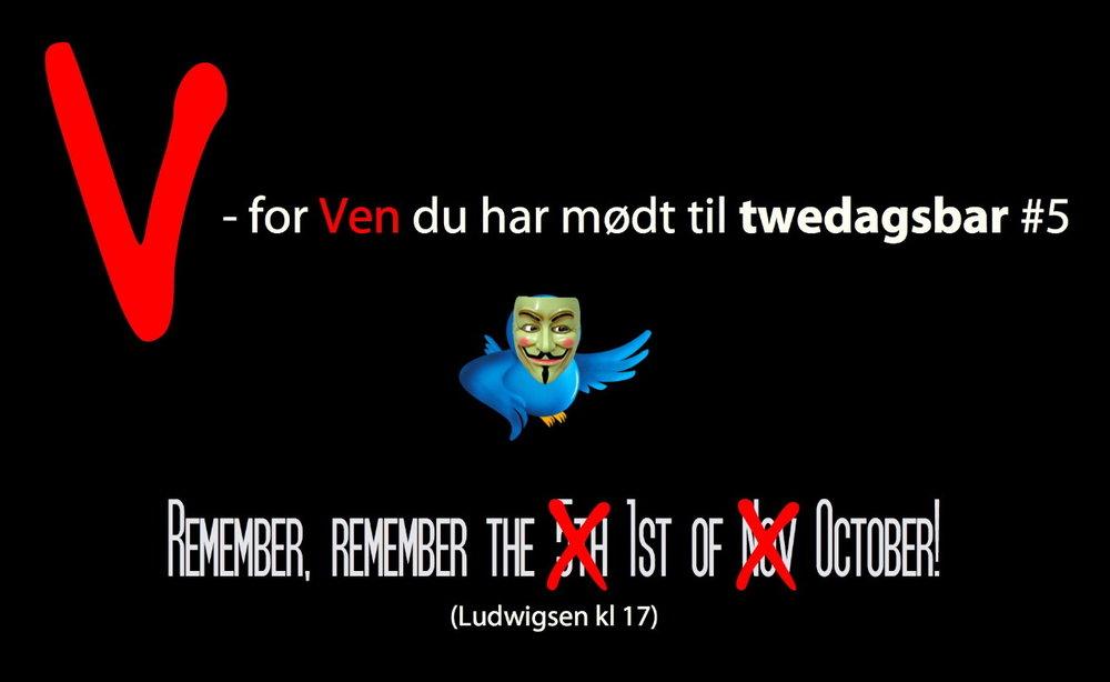 Twedagsbar #5 coming up! Midt i det grånende efterår lyser twittersfæren op som en glødelampe og varmer hjerterne for femte gang i år på Ludwigsen.  Tilmelding sker som sædvanligt på Doodle:   http://www.doodle.com/vafibb4amm4u79r3     Men du kan jo også skilte med din deltagelse på Facebook:   http://www.facebook.com/event.php?eid=159271997419095    Vi ses 1. oktober kl. 17 på Ludwigsen!