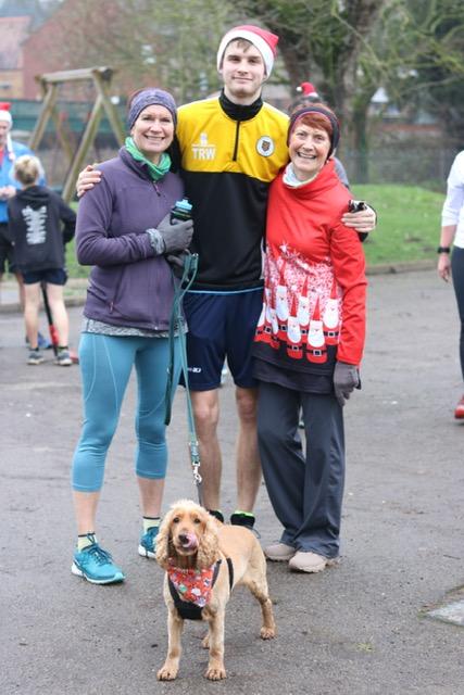 Three generations at xmas day park run, plus Willow