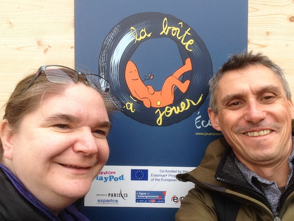 November 2016 : Feeling proud…. Dan Rees-Jones  and  Kirsty Wilson  take a selfie outside the Boite a Jouer in Ecole Wurtz.