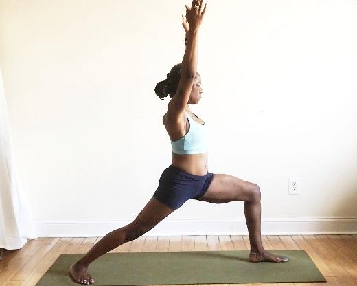 virabhadrasana 1. (back heel down + toes angled.)