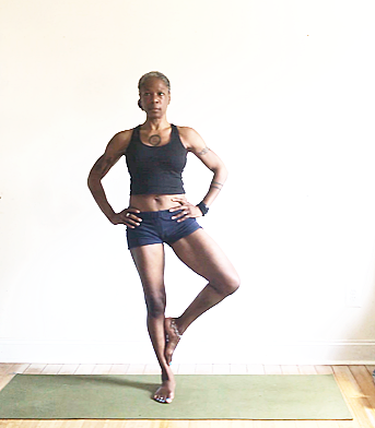 vrksasana variation: foot to inner calf.
