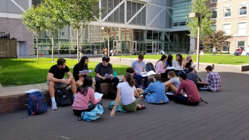 Frontiers of Science students from my afternoon session discussing their scientific articles in different groups. @Columbia Campus somewhere between Pupin Hall and Northwest Corner Building.