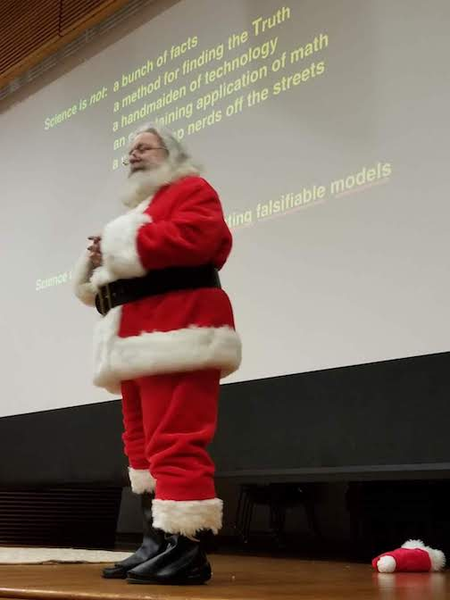 Santa David Helfand giving the last Frontiers of Science lecture of the semester to the Columbia students.