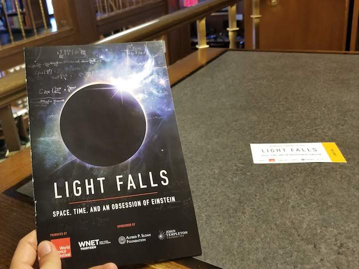 Booklet of the performance of Light Falls: Space, Time, and an Obsession of Einstein, February 20, 2019.
