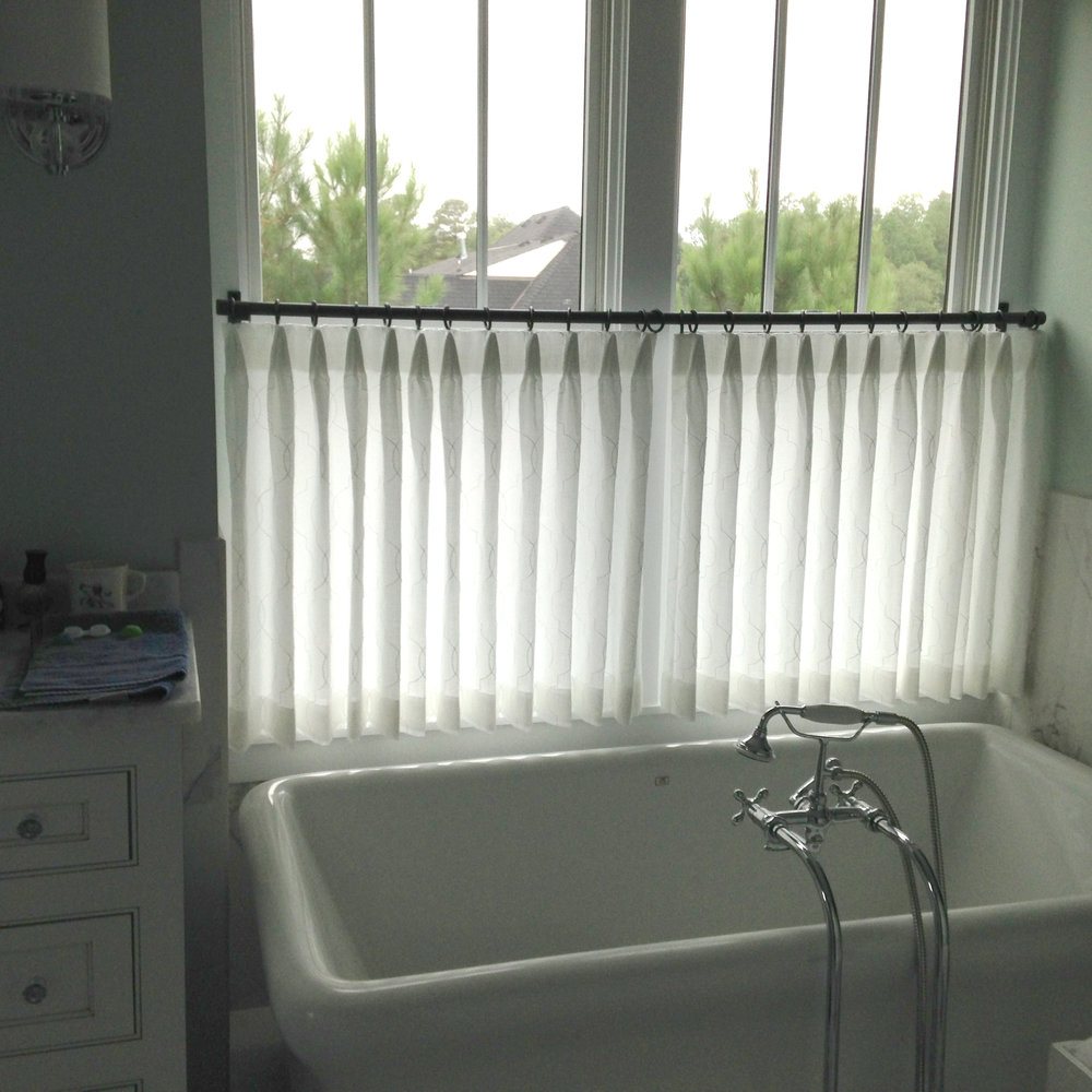 Sheer Cafe Curtains add just the right amount of privacy, for Kathy Corbet Interiors