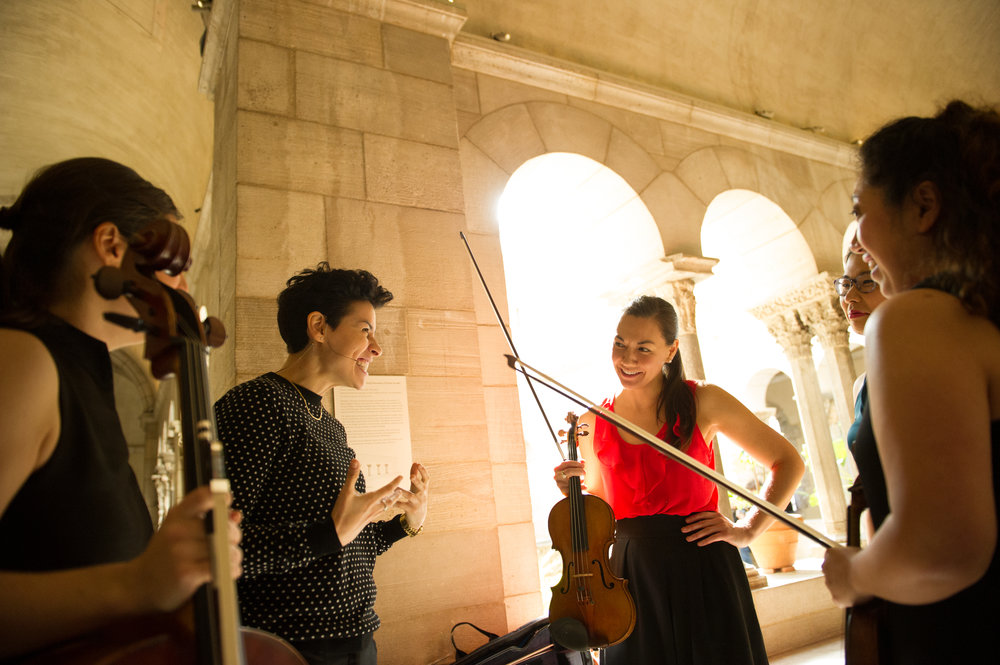 Backstage w/ Aizuri Quartet. Photo Credit: Paula Lobo. Copyright (c) 2018 The Metropolitan Museum of Art