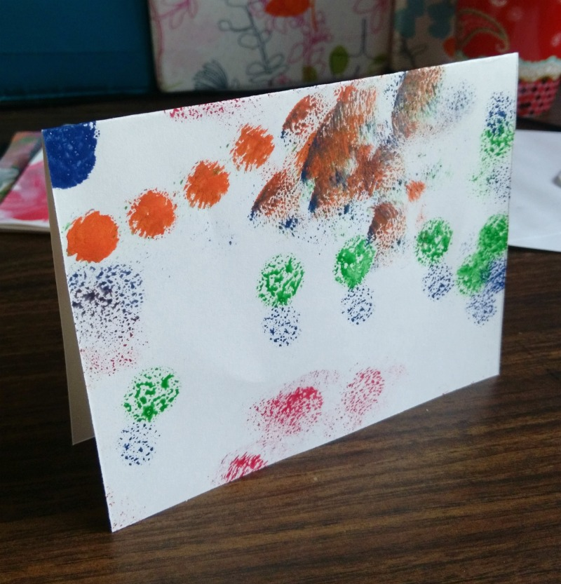 creating cards from kids art