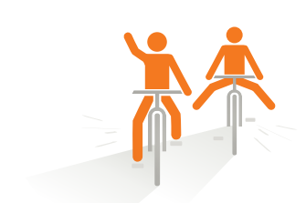 Icon, das den CHILDREN Entdeckerfonds symbolisiert: Zwei Menschen auf Fahrrädern.