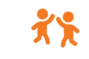 Ein Icon, das die CHILDREN Partnerförderung symbolisiert: Zwei Menschen, die sich abklatschen.
