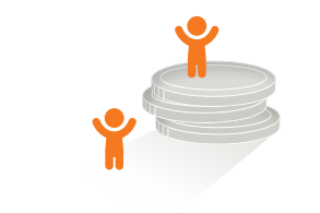 Icon, das den CHILDREN Jugend hilft! Fonds symbolisiert: Männchen mit Münzstapel
