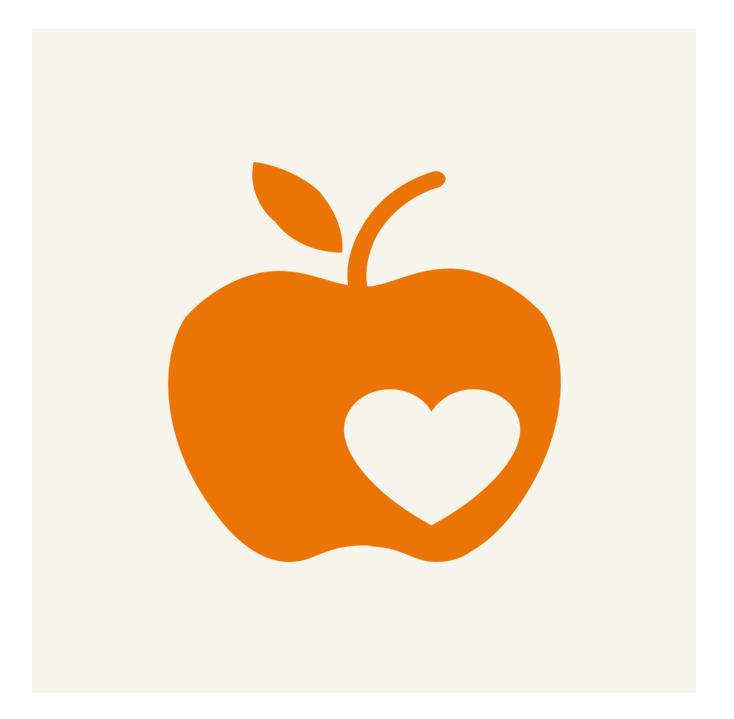 Icon zeigt Apfel mit Herz, was das Programm CHILDREN Entdecker symbolisiert