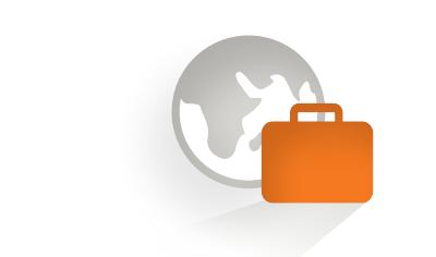 Icon, das das CHILDREN Entdeckerstipendium symbolisiert: Eine Weltkugel und ein Koffer.