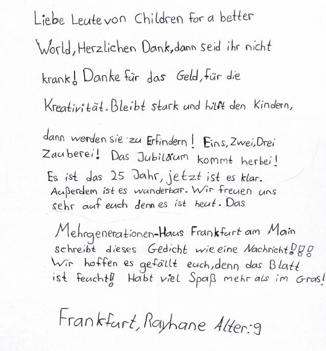 Gedicht aus unserer Frankfurter Partnereinrichtung