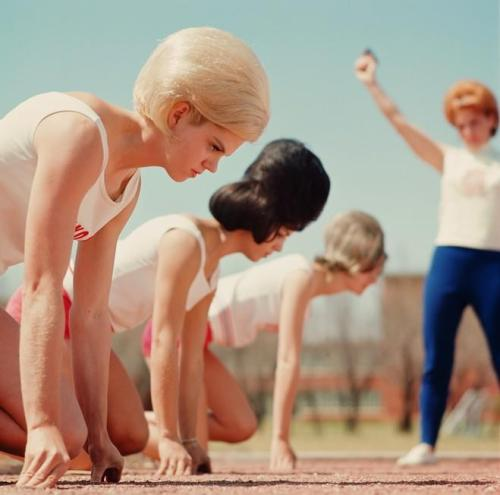 The women of the Texas Track Club — who, yes, competed and won in bouffants — in 1964.