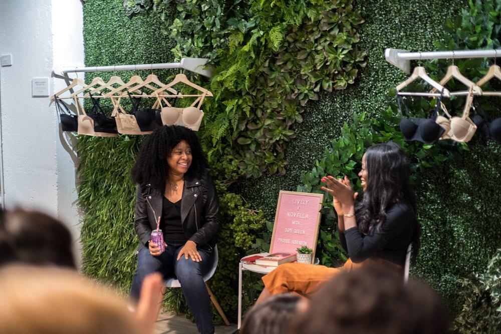 Phoebe Robinson  in conversation with Novella founder  Abby Adesanya .  (Photos:    Erica Westley   )