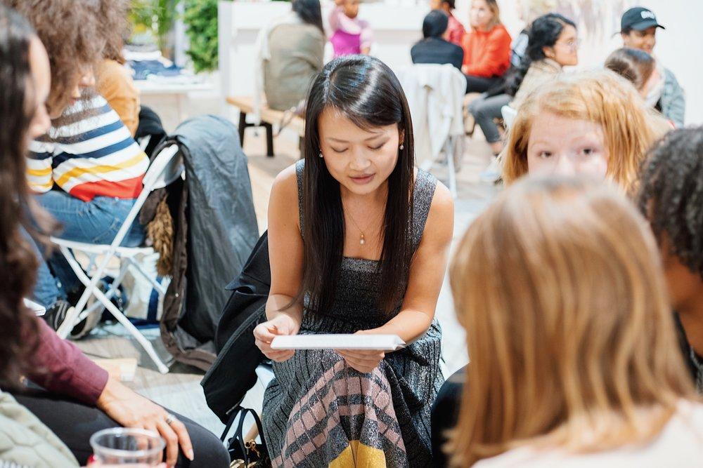 Writers sharing their work at a Novella salon. (Photo:  Erica Westley )