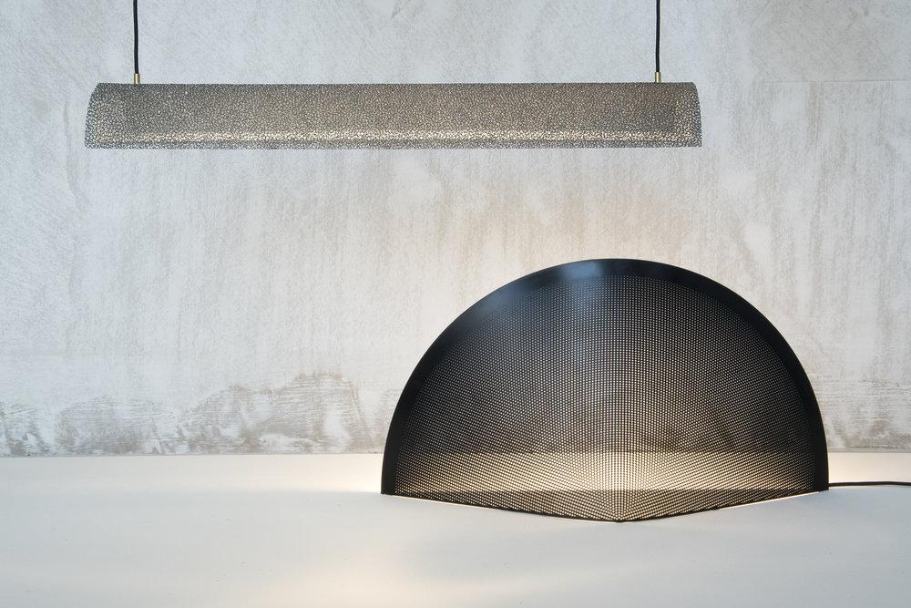 Aero Light nickel & Lucid Light table lamp - David Derksen Design.jpg