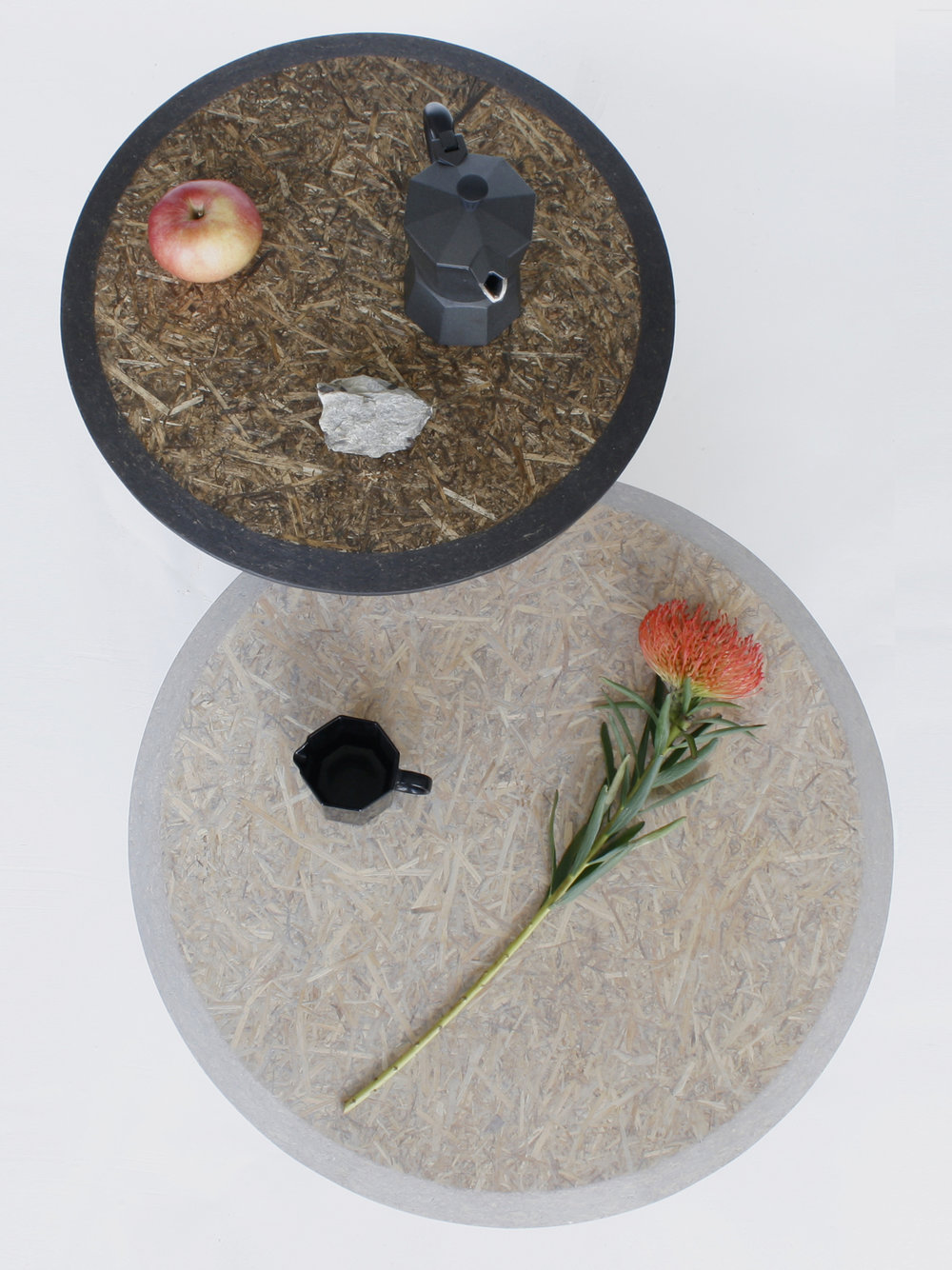 Straw sidetables -gray and black_styling top view- David Derksen Design.jpg