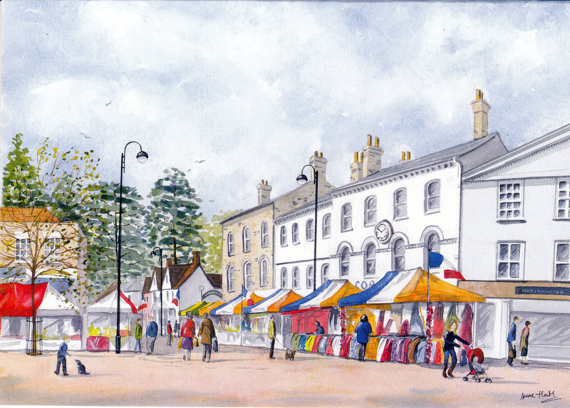 The French Market, Stowmarket (Watercolour)