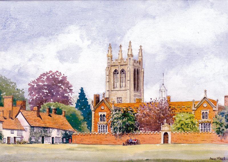 The Old Hospital & Church, Long Melford (Watercolour)