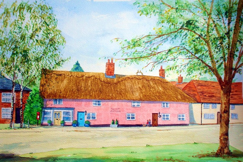 Bean's Cottages, Stoke by Clare, Suffolk (Watercolour)