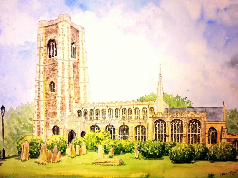 St. Peter's & St. Paul's Church, Lavenham (Watercolour)