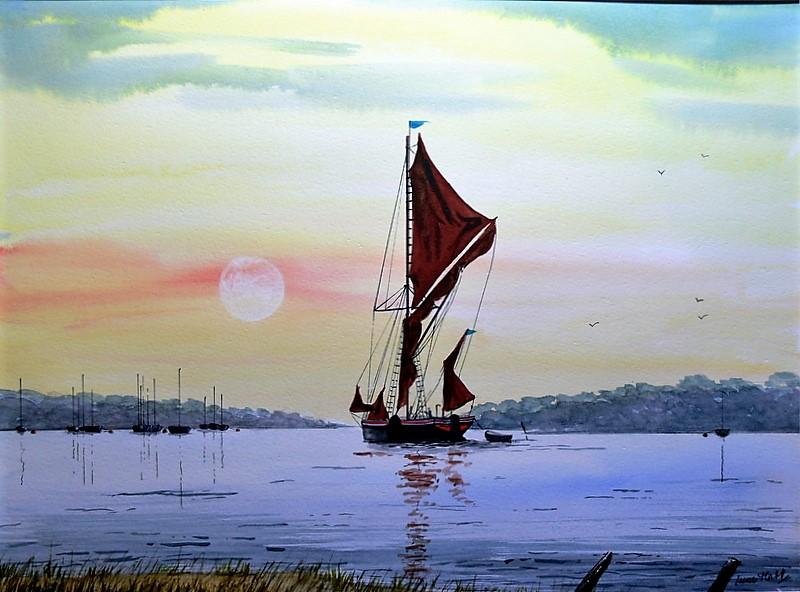 Thames Barge Sailing on the Deben, Suffolk