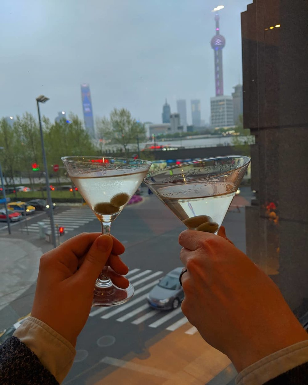 The view of Pudong from the hotel lobby was the backdrop for a week of martini instagram pictures