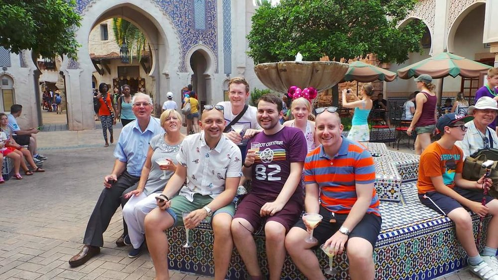 Here's a family shot, minus our other niece, Talulah (who hadn't been born yet), in another of Epcot's Pavilions, the Kingdom of Morocco, which incidentally, we've also travelled to post-2015 Epcot.