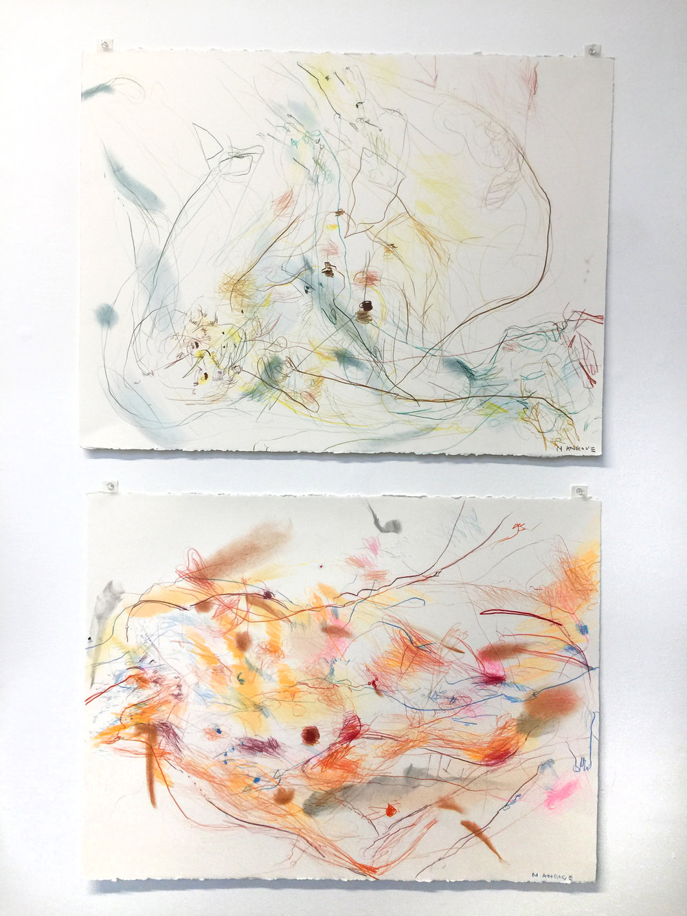 Michael Angove 'Untitled Figure 2' and 'Untitled Figure 3' 2018 Pencil on Paper