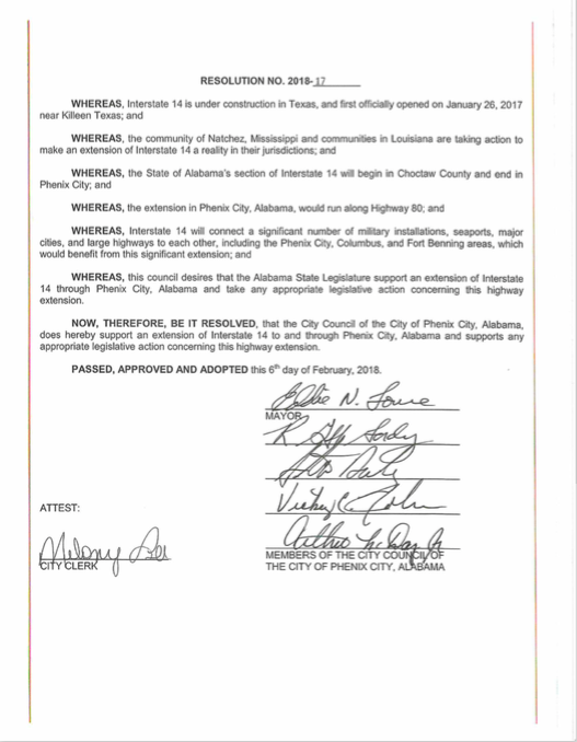 Phenix City, Alabama passes a resolution to push for I-14 to be built through their community. This marks the first city in Alabama to push for I-14.