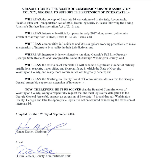 On the 13th day of September 2018, Washington County, GA passes a resolution to support the extension of I-14.