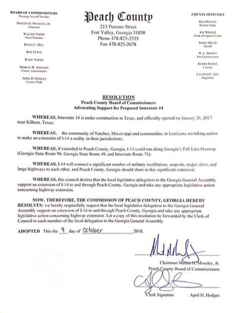 On the 9th day of October 2018, Peach County, GA passes a resolution advocating support for I-14.