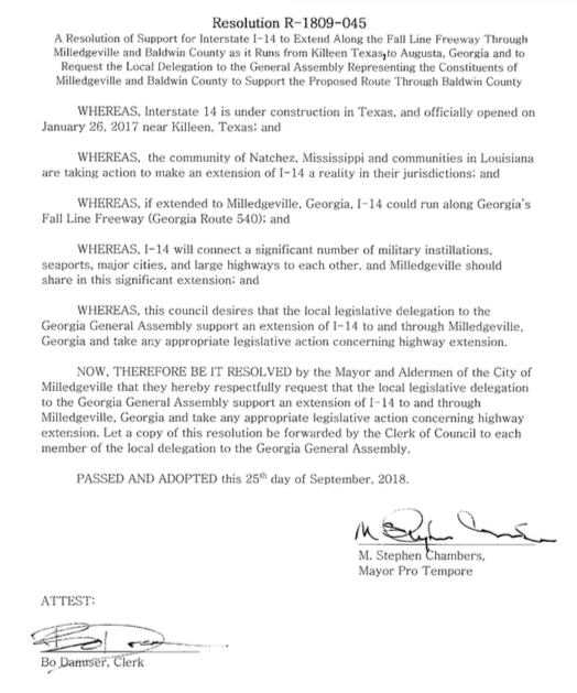 On the 25th day of September 2018, Milledgeville, GA passes a resolution of support for I-14 to extend along the Fall Line Freeway through Milledgeville and Baldwin County.
