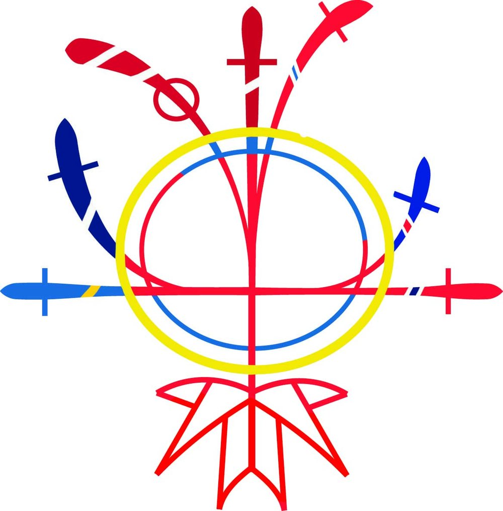 Proposed Canadian Nordic Society Logo - A design created for the Canadian Nordic Society to update the old logo and bring a more modern look to the group, bringing inspiration from Sami drawings (a reindeer-herding group of people native to the north of the Nordic countries). Crosses sprout for each nation in the society, bounded by a yellow band, representing the long Nordic sun and a band of cooperation between all nations. A stylized maple leaf is used as roots for the nations, as all members now connect to Canada. Colours used were all designed in collaboration with Karma Ääpälä, an artist from Joensuu, Finland.