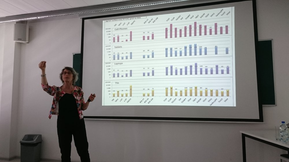 An energetic talk by Prof. Miriam Diamond (University of Toronto).