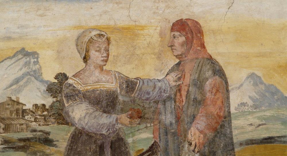 Laura prende il cuore di Petrarca, affresco presso la casa del poeta ad Arquà Petrarca (autore sconosciuto)
