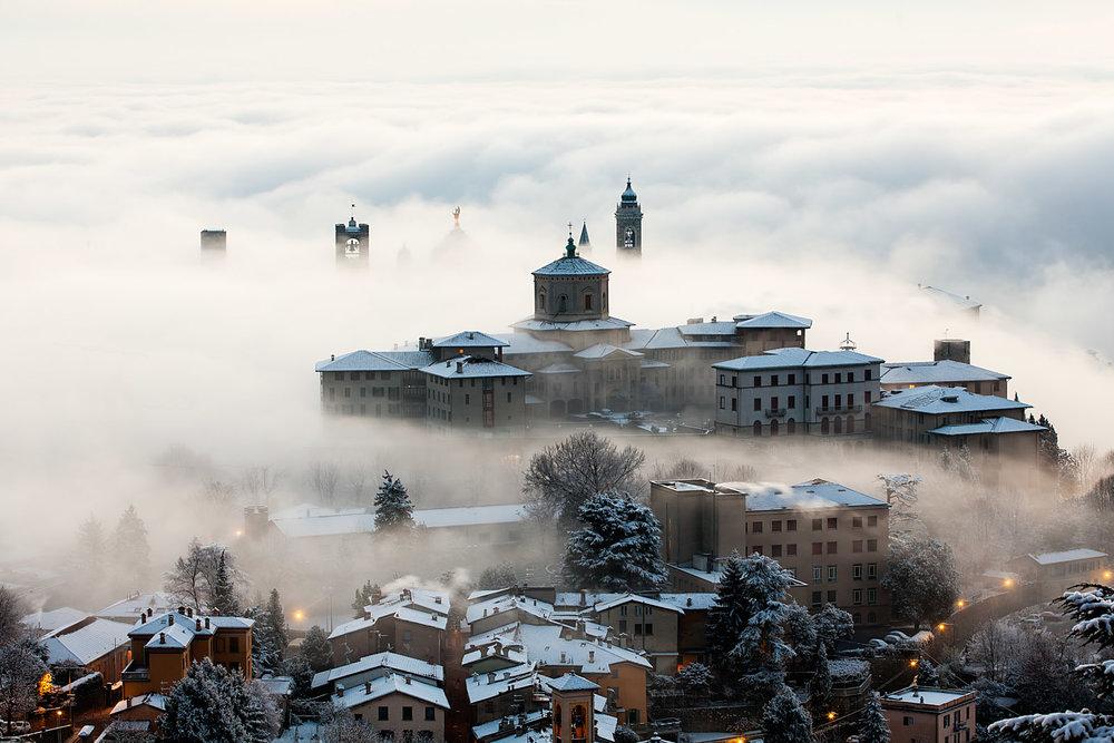 Bergamo, panorama d'inverno