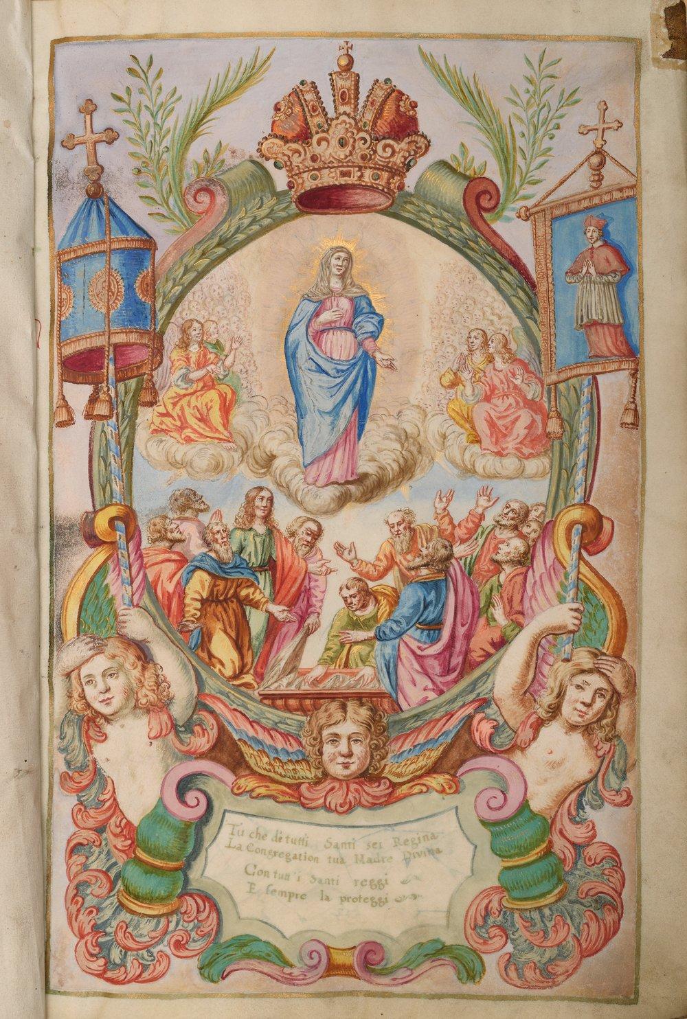 Libro dei membri con miniatura dell'Assunzione