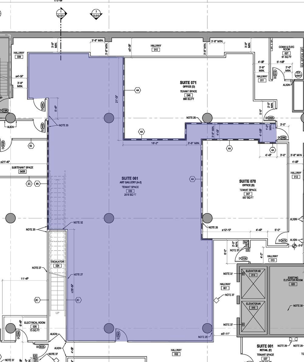 B. 2,516 sq. ft. Studio/Exhibition