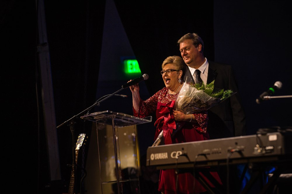 Dixie Griffin and Mark Narmore at the 2018 Alabama Music Hall of Fame Induction Banquet.