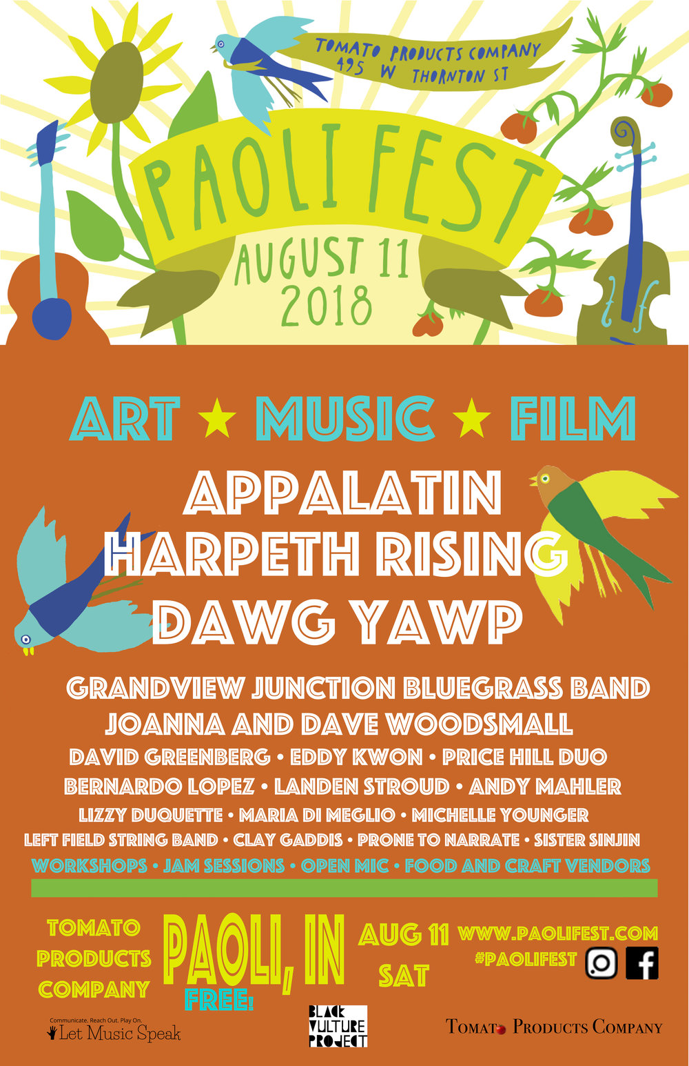 PaoliFest 11x17 poster - $7 - Bring yours to the festival to collect artist autographs!