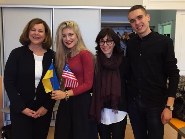 Sharon is pictured with students from the National University of Ukraine. Sharon and filmmaker Andrea Nevins gave a presentation on gender equality to students in the American and European Studies program.