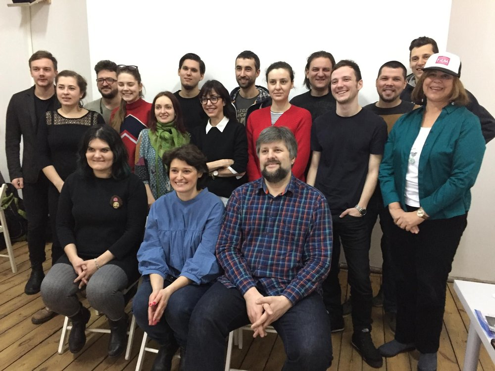 Sharon is pictured with student filmmakers from Ukraine. This picture was taken at Indie Lab, where they watched the students' films and discussed the art of filmmaking.