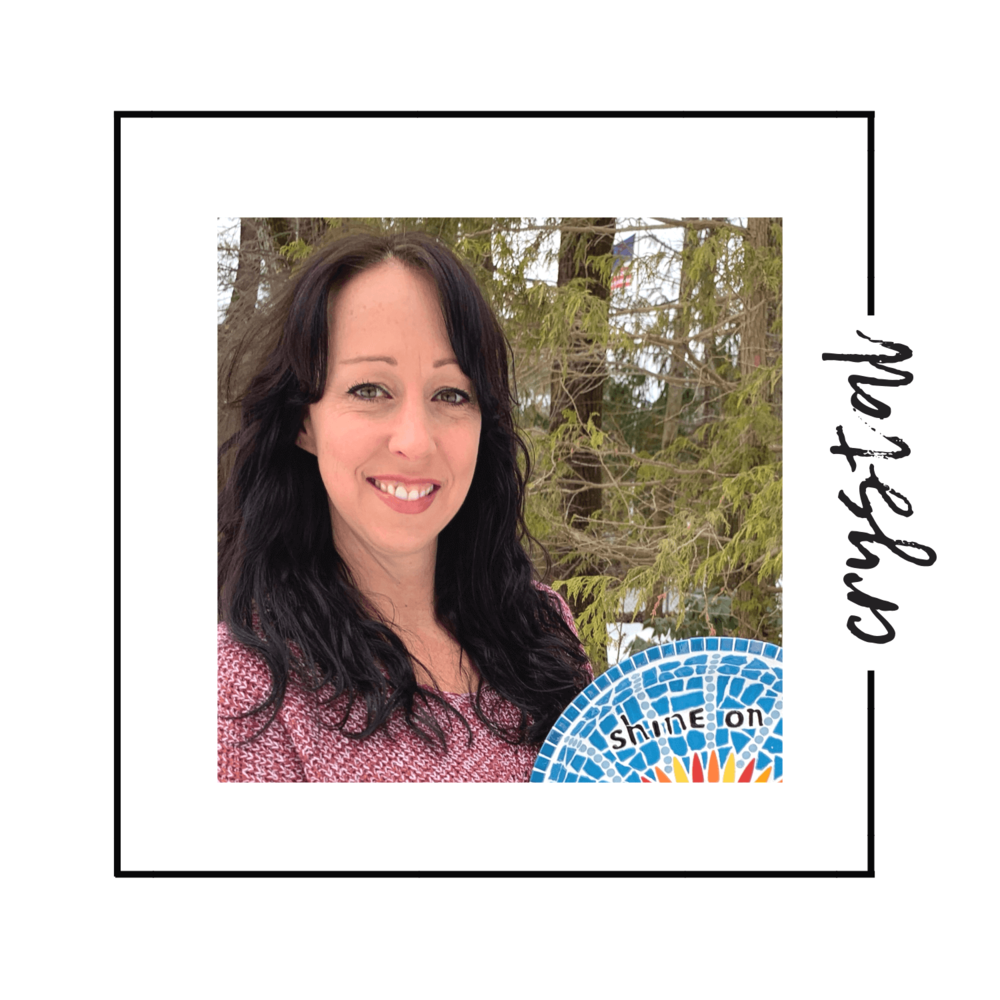 """crystal d'abbraccio - guest artist from tiny tile mosaicsCrystal D'Abbraccio is a mosaic artist with a background in teaching mosaics to diverse learners of all ages. Most of all, she enjoys creating and teaching inspirational pieces to help others heal from trauma, illness and addiction. She believes her process can be used as an approach to personal growth and reflection. Mosaics are an assembly of many pieces, sometimes broken, to create a larger and more beautiful whole. When creating mosaic art, we are """"Picking up the Pieces"""" in a literal sense but also in a very personal and physical way. The mind and body integration of mosaic therapy can be a very empowering and cathartic experience. Crystal is also the proud owner of Tiny Tile Mosaics, an online mosaic supply store that distributes mosaic art supplies worldwide. Crystal lives with her very own tribe of mosaic artists in Concord, MA."""