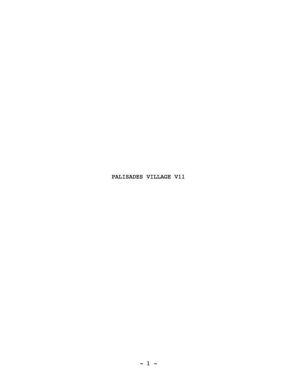 Caruso: Palisades Village Script