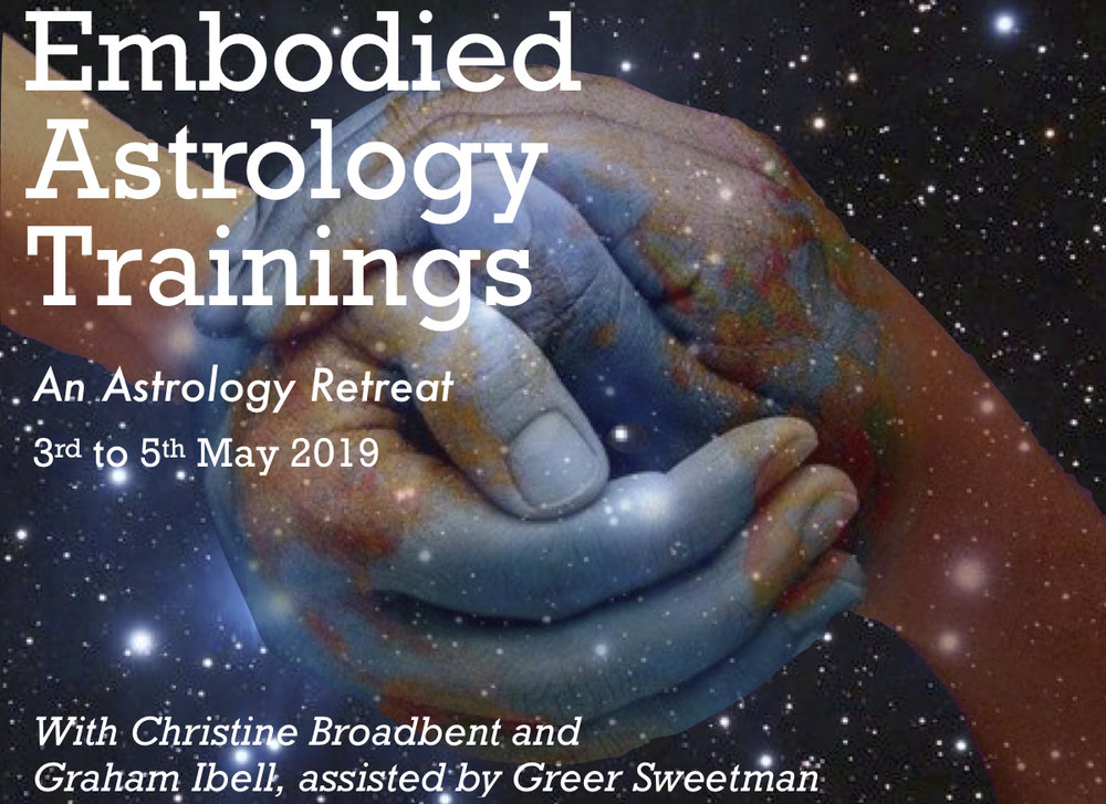 Embodied Astrology:an Astrology Retreat - with Christine Broadbent, Graham Ibell and Greer Sweetman3 - 5 May 2019, Bella Rakha Retreat Centre, Oratia, Auckland.Astrology is normally learned through the intellect, whether it's on-line, through books or classes or in conversations. Rarely do we have a chance to drop into a feeling sense of the zodiac signs, experience the planets directly in the body, encounter meaningful astrology always alive in the world that we move through.In this exciting retreat, experienced astrologers Christine Broadbent (Australia) and Graham Ibell (NZ), assisted by Greer Sweetman, will be midwifing a journey into a direct astrological experience; one in which you will learn or deepen your astrology via movement, sensations, embodiment, dreams, synchronicities, conversations, subtle awareness, the imagination - in fact through all six senses!Perfect for adventurous beginners and intermediate students alike, this weekend promises to be an unforgettable encounter - with yourself, with others and with the world. More information on the retreat, its content and the venue can be found here.Full Residential cost: $500 all inclusive, if $100 deposit received by 23rd March, else $560 (please enquire for Non-Residential options)To enquire or make your booking, email Christine christine@astrologyspot.com.au.